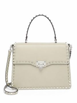 VALENTINO GARAVANI Rockstud Leather Top-Handle Satchel