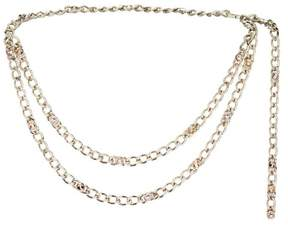 St. John Metal Swarovski Crystal Chain Link Double Strand Belt