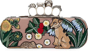 Alexander McQueen Woodland Fox Embroidered Knuckle Box Clutch Bag