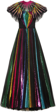 Embroidered sequin tulle gown