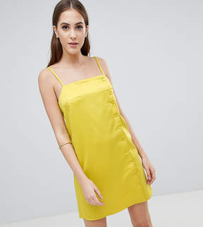 Fashion Union Tall Slip Dress With Button Side In Satin