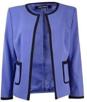 Nine West Women's Contrast Trim Collarless Pocket Blazer