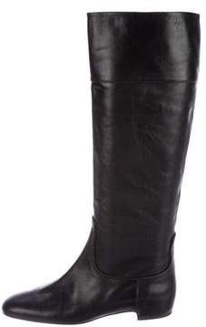 Roger Vivier Leather Round-Toe Knee-High Boots