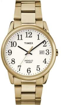 Timex Men's Easy-Reader White Dial Watch, Gold-Tone Stainless Steel Bracelet