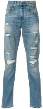 R 13 ripped slim fit jeans