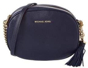 MICHAEL Michael Kors Ginny Leather Messenger. - NAVY - STYLE