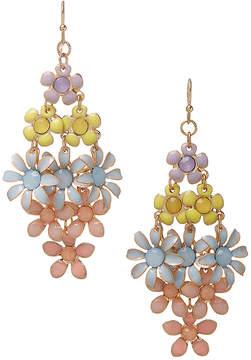 Carole Peach & Blue Flower Drop Earrings