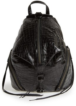 Rebecca Minkoff Medium Julian Croc Embossed Backpack - Black - BLACK - STYLE