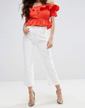 Fashion Union High Rise Cropped Kick Flare Jeans