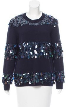 Dries Van Noten Merino Wool Paillette-Embellished Sweater
