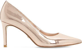 Dune Abbigail metallic-leather court shoes