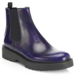 Prada Lug Sole Leather Chelsea Booties