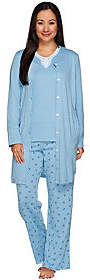 Carole Hochman Tall Rose Bud Interlock 3-Pc Pajama Set with Lace Trim