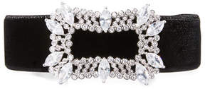 Fallon Toria Velvet Crystal-Buckle Choker Necklace, Black
