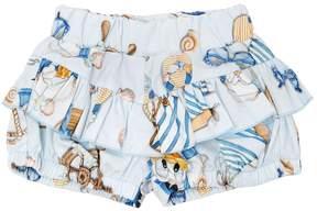 MonnaLisa Donald Duck Stretch Cotton Poplin Shorts