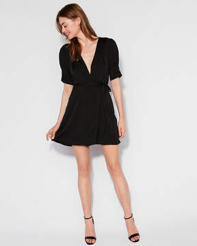 Express Matte Satin Wrap Dress