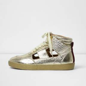 River Island Womens Gold cut out hi top sneakers