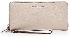MICHAEL Michael Kors Leather Zip-Around Wristlet Wallet - BEIGE - STYLE