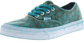 Vans Authentic + Overwash Paisley Turquoise Ankle-High Canvas Skateboarding Shoe - 8.5M / 7M