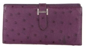 Hermes Ostrich Bearn Wallet - PURPLE - STYLE