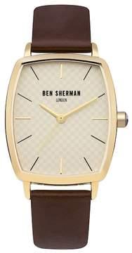 Ben Sherman Men's Quartz Leather Strap Watch, 34mm