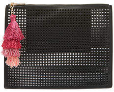 Neiman Marcus Perforated Pouch Bag with Tassel