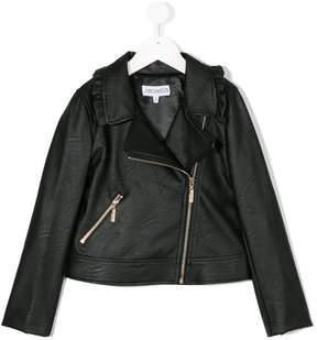 Simonetta ruffle detail biker jacket