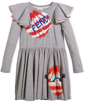 Fendi Long-Sleeve Ruffle Jersey Dress w/ Monster Pompom Graphic, Size 10-14