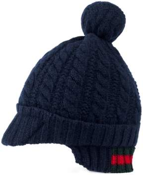 Gucci Baby cable-knit hat with Web