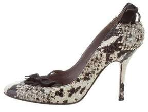 Anya Hindmarch Bow-Accented Snakeskin Pumps
