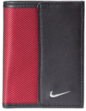 Nike Men's Leather & Tech Twill Money Clip Card Case - Red