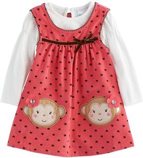 Nannette Baby Girl Polka-Dot Monkey Jumper & Bodysuit Set
