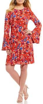 Donna Morgan Printed Bell Sleeve Dress