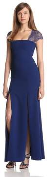 BCBGeneration BCBG Maxazria Crepe Lace Back Cap Sleeve Evening Gown Dress