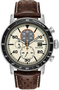 Citizen Eco-Drive Men's Chronograph Brown Leather Strap Watch 44mm