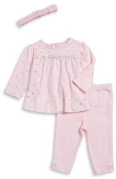 Little Me Baby Girl's Three-Piece Star Cotton Tunic, Footed Pants and Headband Set