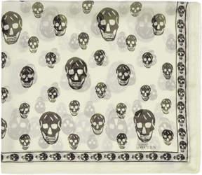 Alexander McQueen Ivory and Black Silk Skull Scarf