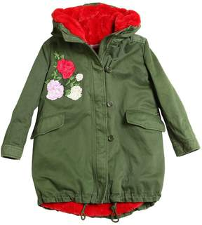 Miss Blumarine Cotton Gabardine & Faux Fur Parka Coat