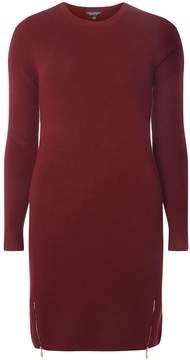 Dorothy Perkins Burgundy Zip Hem Knitted Tunic