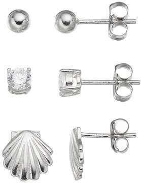 Ball Cubic Zirconia Sterling Silver Seashell & Stud Earring Set