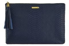GiGi New York Uber Python-Embossed Leather Clutch