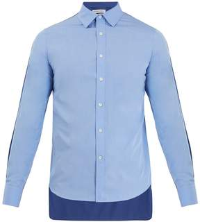 Alexander McQueen Contrast-back point-collar cotton shirt
