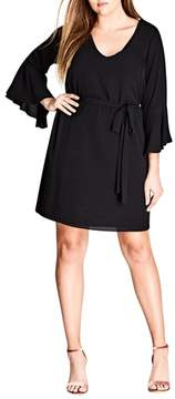 City Chic Tie Waist Bell Sleeve Dress