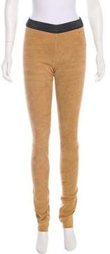 Drome Mid-Rise Leather Suede Leggings w/ Tags