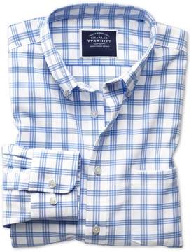 Charles Tyrwhitt Classic Fit Button-Down Non-Iron Twill White and Blue Cotton Casual Shirt Single Cuff Size Medium