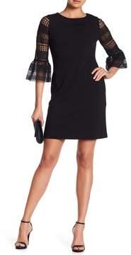 Donna Ricco 3/4 Length Bell Sleeve Dress