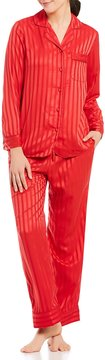 Cabernet Shadow-Striped Satin Pajamas