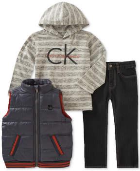 Calvin Klein 3-Pc. Puffer Vest, Hoodie & Jeans Set, Baby Boys (0-24 months)