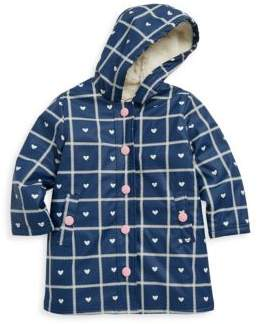 Hatley Little Girl's & Girl's Crosshatch Hearts Splash Polyurethane Jacket