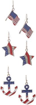 Carole Three-Pair Flag Anchor Earrings Set